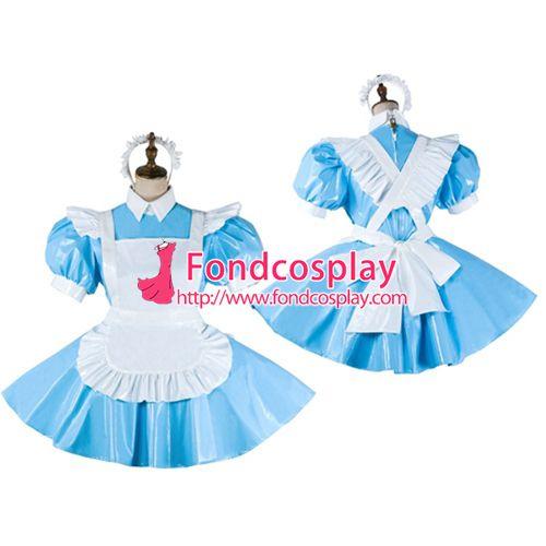 Sissy maid PVC dress lockable Uniform cosplay costume Tailor-made[G2065]