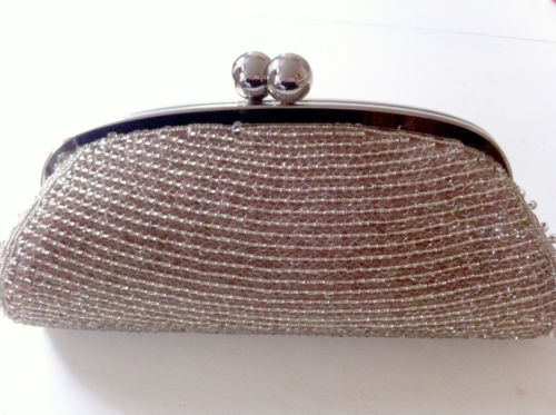 Raro-Rosa-John-Lewis-Mujeres-Transparente-Bead-Marco-Cromado-Kate-Embrague-Evening-Bag-aso