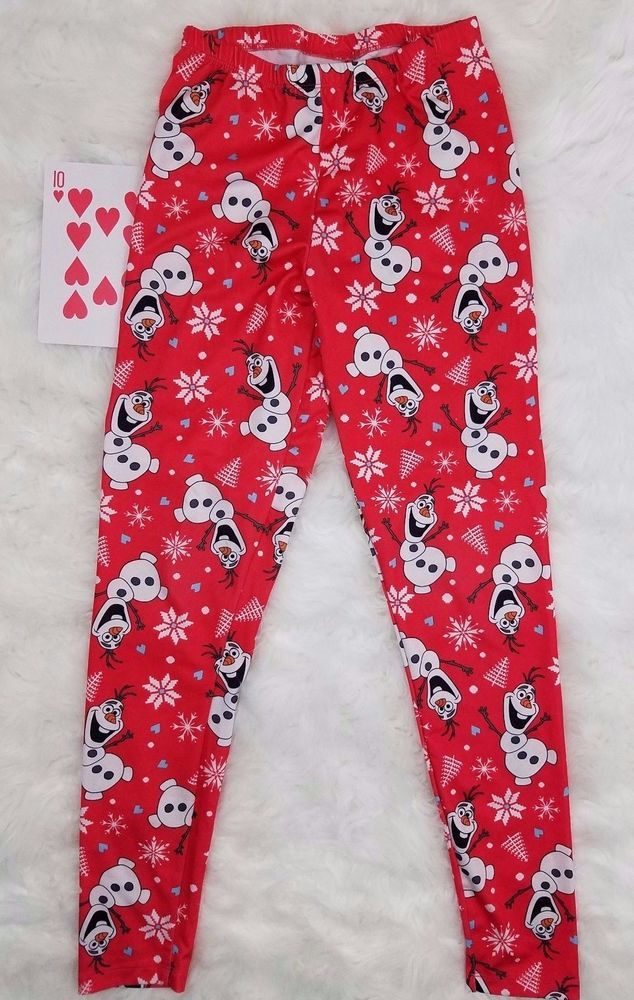 Disney Children's Frozen Olaf Snowman Pajama Lounge Pants Medium EUC Red White #Disney #PajamaBottoms