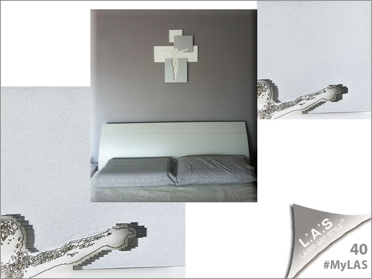 #MyLAS Welcome to Mari Celeste's #home! #bedroom #crucifix #design #designinspiration #interiors http://www.laserartstyle.it/home/gallery/my-las/ CRUCIFIXES | CODE: CR19 | SIZE: 54x65 cm | COLOUR: lacquered white - silver applications