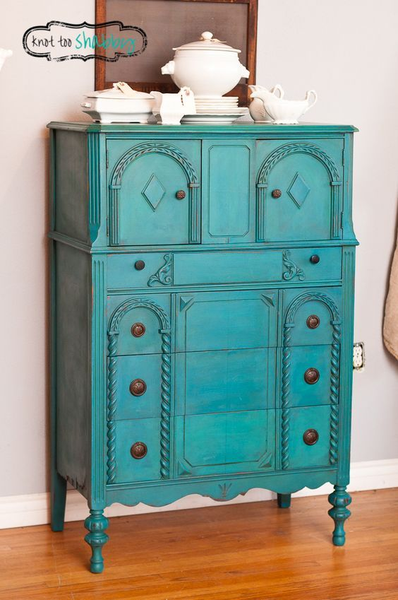 Peacock Blue By A Custom Chalk Paint® Color Of Napoleonic Blue And Florence  With A Florence Wash And Dark Wax