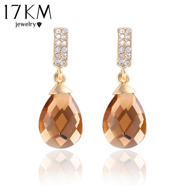 New Design hot Fashion Gold Plated Crystal Glass Pendant drop earrings blue gem Statement earring jewelry for women 2014 M11