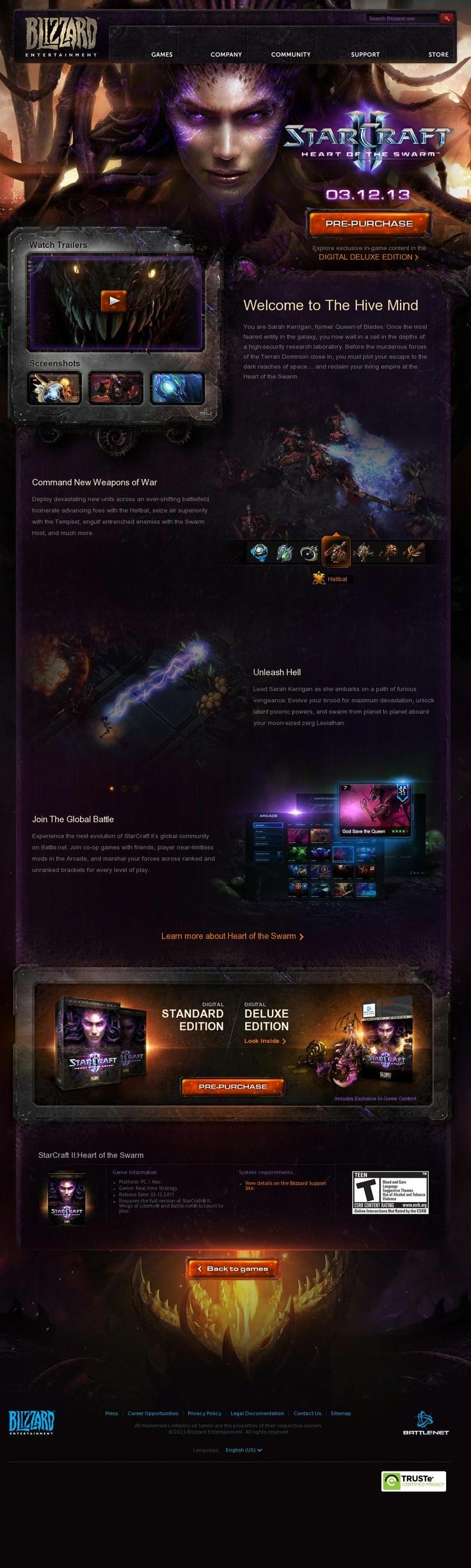 StarCraft II: Heart of the Swarm  http://us.blizzard.com/en-us/games/hots/