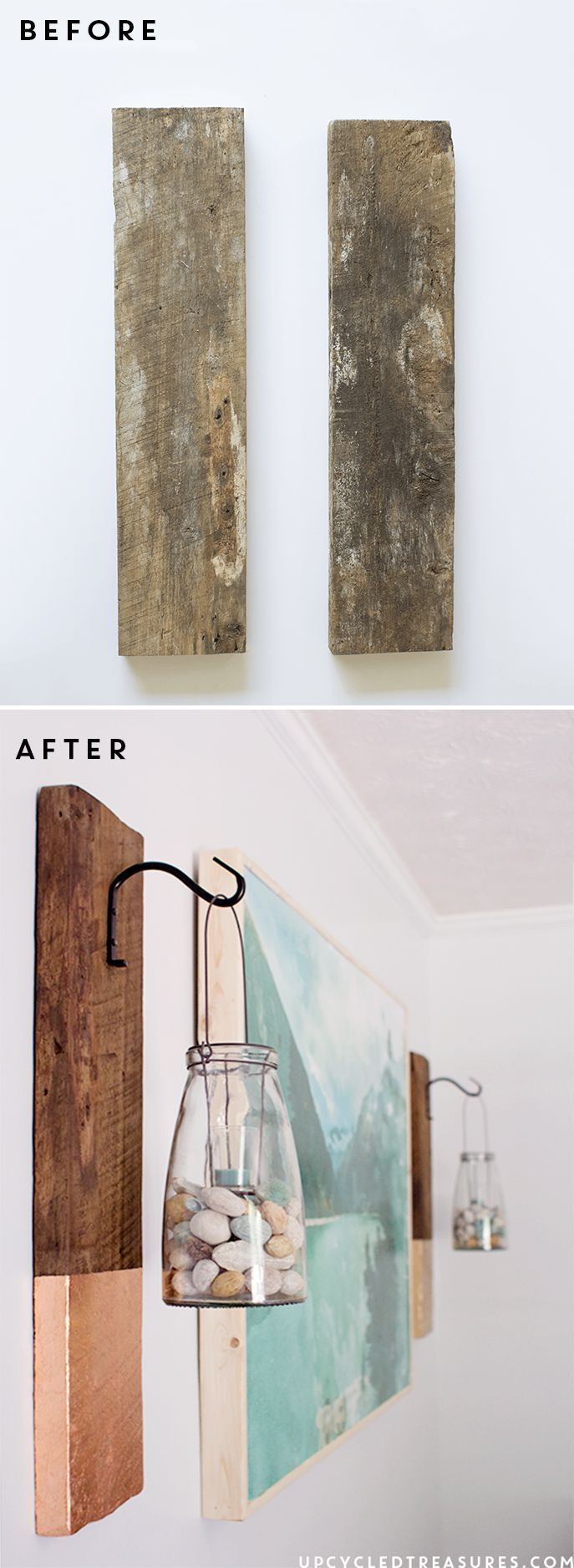 DIY Modern Rustic Wall Hanging from salvaged wood | upcycledtreasures.com