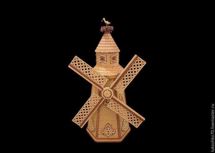 Купить Мельница из бересты - изделия из бересты, берестяные изделия, подарок на день рождения, русский сувенир