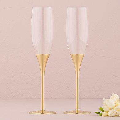 Gold Wedding Champagne Flutes Venice Design