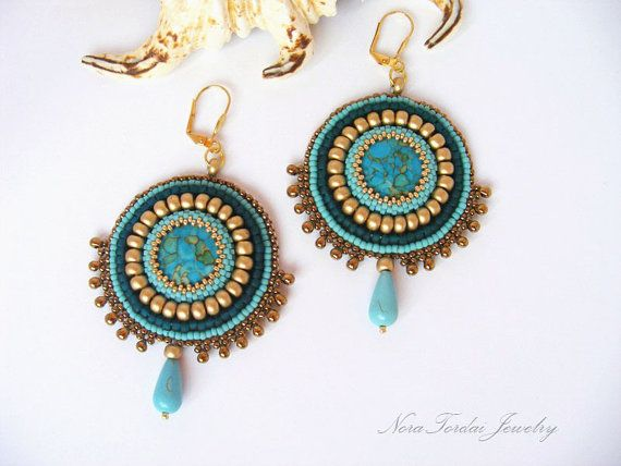Bead Embroidery Earrings - Winter beaded earrings Mosaic turquoise matt gold turquise green and bronze winter bead embroidery earrings