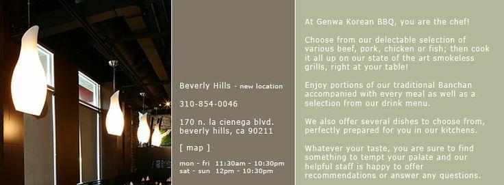 Genwa Korean bbq - Location - Mid Wilshire, Koreatown, Hollywood, Beverely Hills