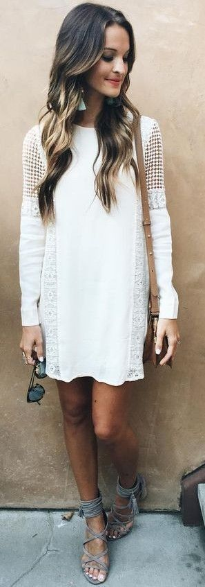 Little White Crochet Dress                                                                             Source