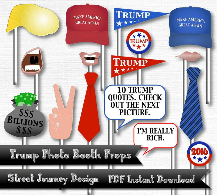 Trump Photo Booth Digital Download 26 Piece PDF Printable 300 DPI Election 2016 Donald Trump Republican Candidate Make America Great Again by streetjourney on Etsy