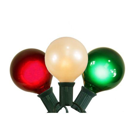 Set of 15 Red White and Green Satin G50 Globe Christmas Lights - Green Wire