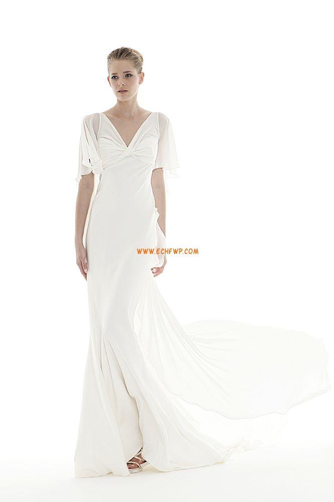 Chiffong Dragkedja Empire Billiga Bröllopsklänningar