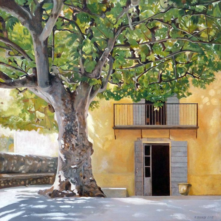 Patrice Lannoy, realistic painting, figurative, landscape, Plane tree in Provence, paintings on canvas