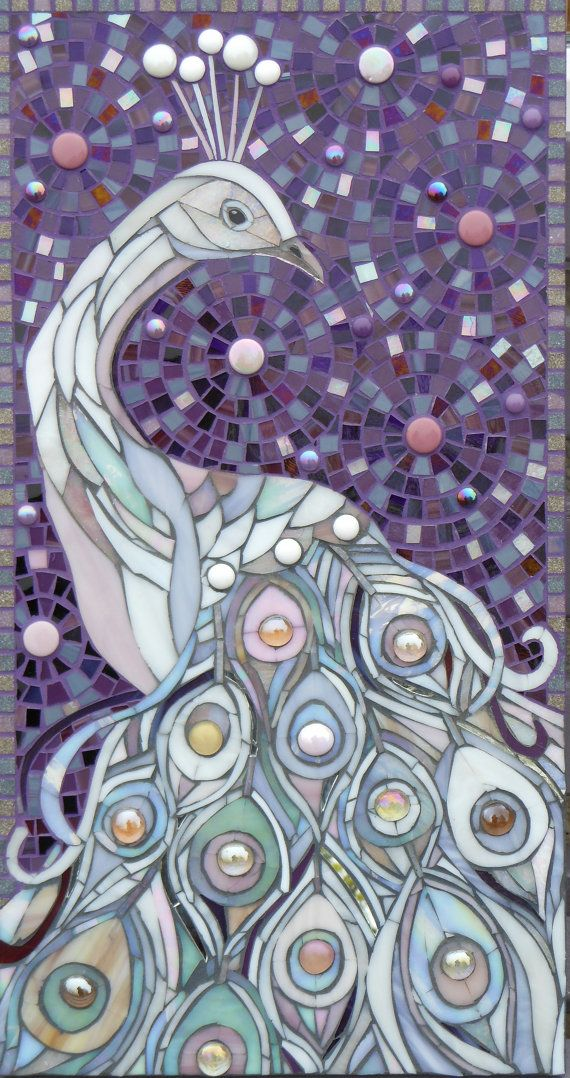 White Peacock Mosaic Giclee Print - limited edition giclee print from original Mosaic Art - Peacock Feathers