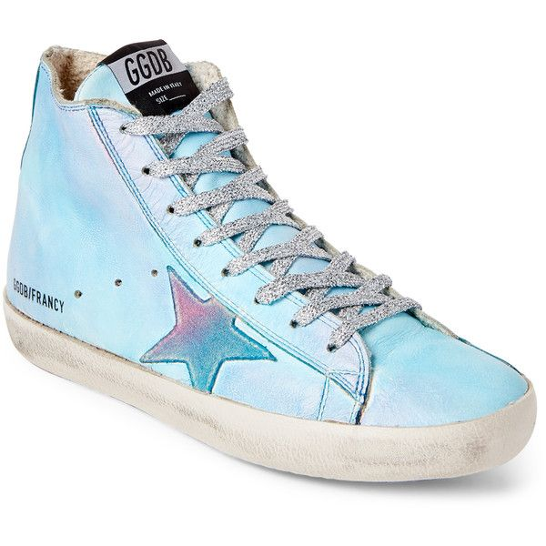 Golden Goose Blue Francy Tie-Dye  High-Top Sneakers ($270) ❤ liked on Polyvore featuring shoes, sneakers, white, golden goose sneakers, blue trainers, golden goose high tops, white hi tops and blue sneakers