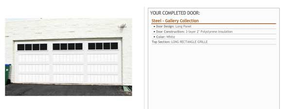 Photo #3: We used the Clopay Door Imagination System on their website to select the door style, insulation, hardware, color and windows. We uploaded a photo of the house so we could see how the new door would look before making a final decision. Our final choice was the Clopay Gallery Collection insulated grooved panel steel door. www.clopaydoor.com