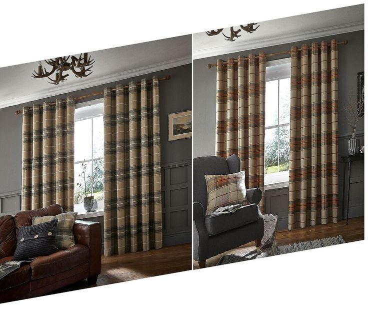 Catherine Lansfield Brushed Heritage Check Fully Lined Eyelet Curtains