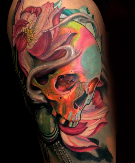 Crazy Colorful Skull Tattoo   by Sean McCready  Tattoolicious