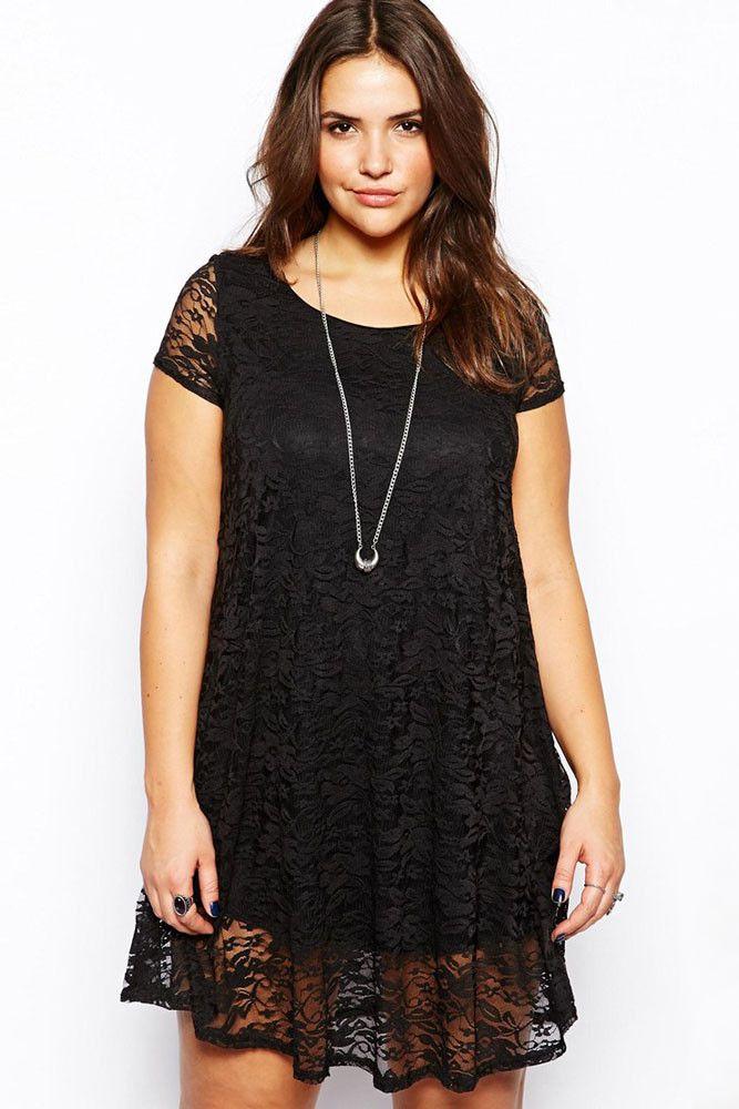 Black Lace Overlay Plus Size Mini Dress LAVELIQ
