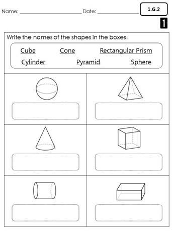 First grade common core math assessments (Geometry)  1.G.1, 1.G.2, 1.G.3 name the 3d shapes