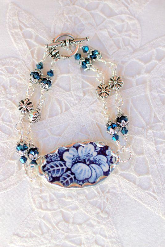 Broken China Jewelry, Broken China Bracelet, Blue Transferware Floral China, Double Strand. $44.95, via Etsy.