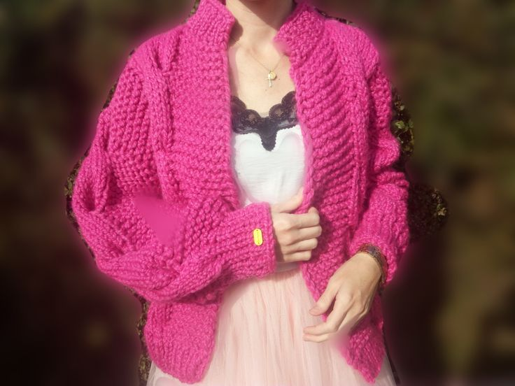 handknit romantic pink cardigan for sale, on etsy.com