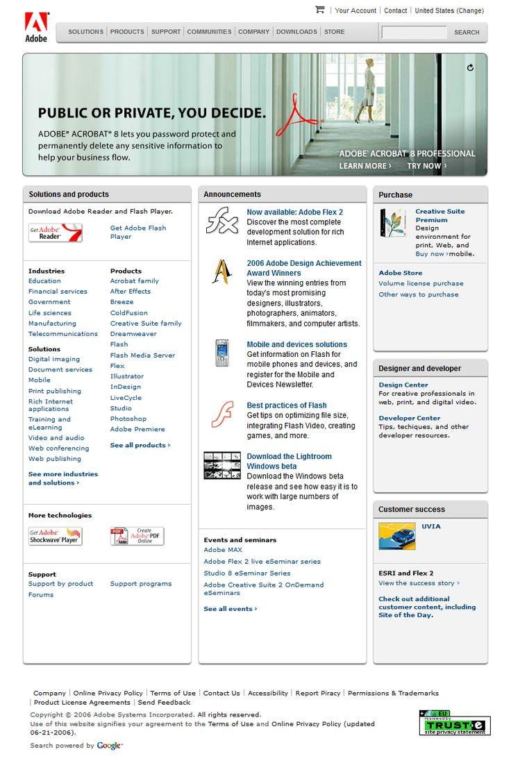 Adobe website 2006