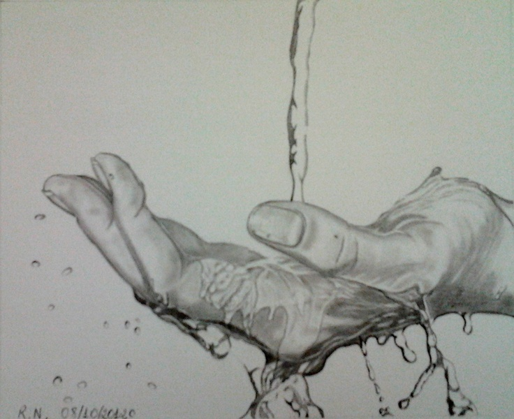 Pencil Drawing - Touching water