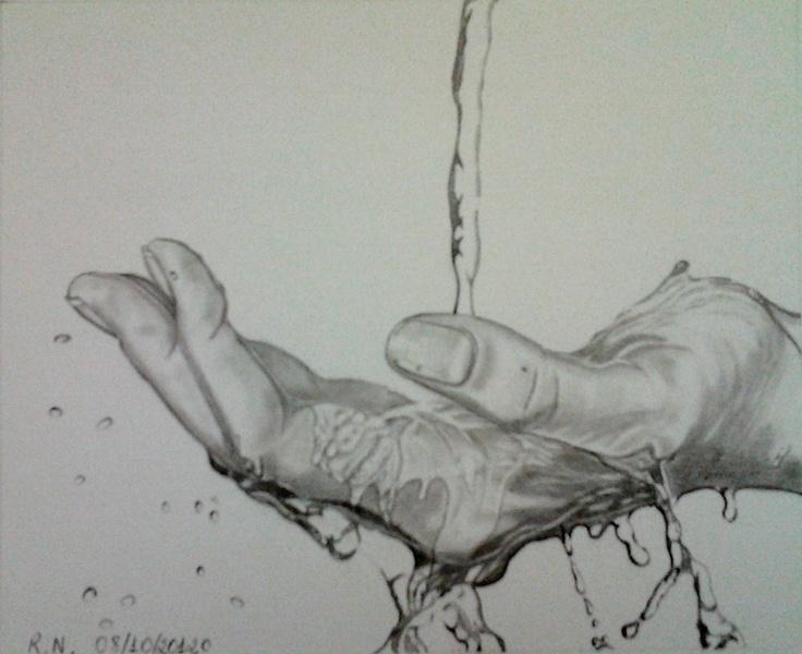 Pencil Drawing - Touching water