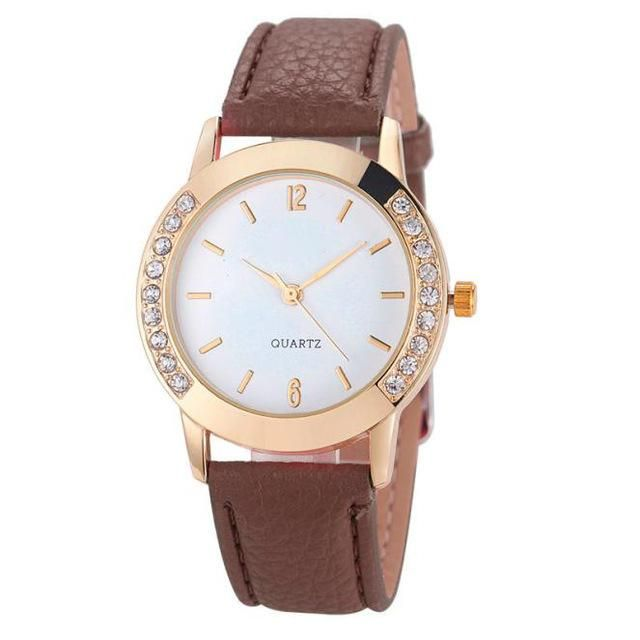 Ladies Rhinestone Analog Faux Leather Watch (Different Colors Available)