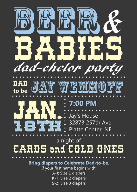Dad Baby Shower Invitation Announcement / Dad-Chelor Party / Beer and Babies / Printable / Custom / Grey, Blue and Yellow
