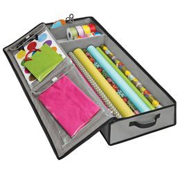 Gift Wrap Tote from Container Store.  Use one for Christmas, one for Birthdays, one for every day.