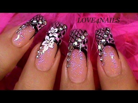 Ombre white and purple Spring fairy Nail Art Video Tutorial! flower,butterfly and pretty pearls - YouTube