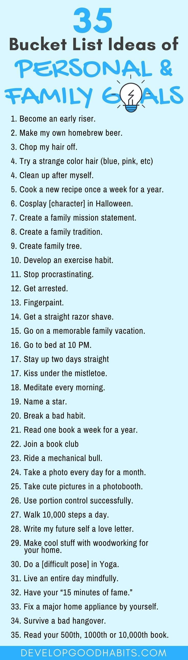BUCKET LIST ideas   for personal and family goals. A great list of ...