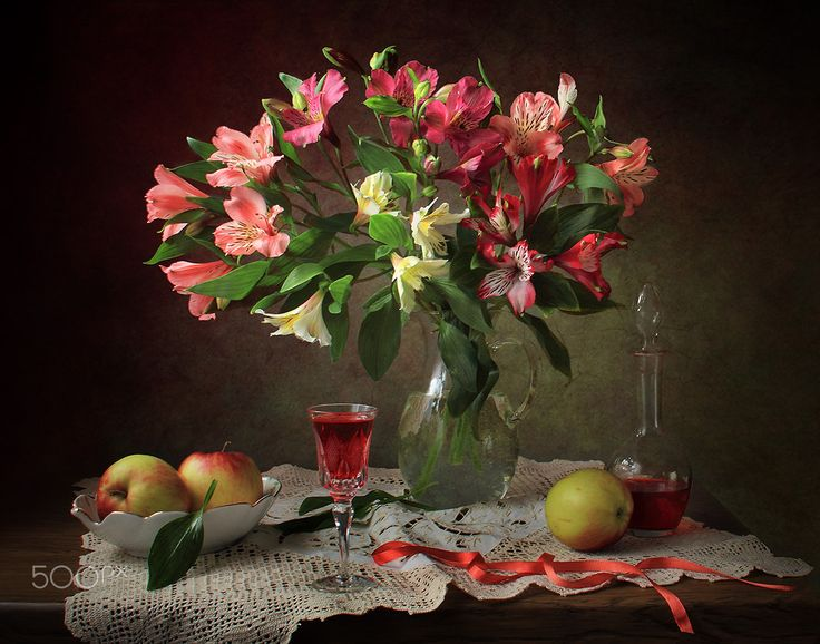 With a bouquet of Alstroemeria - null