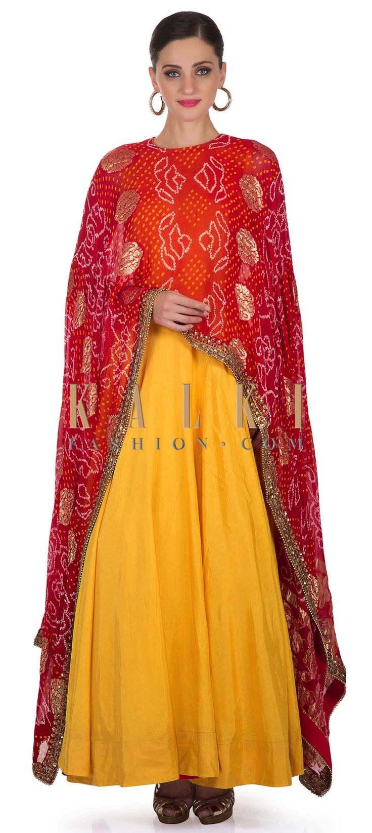 Yellow Cotton Silk Top Paired with Attached Red Bandhani Cape Only on Kalki