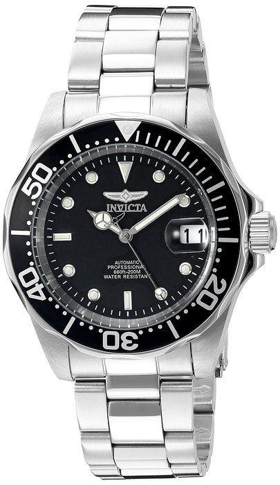 Invicta 8926 - Reloj analógico automático para hombre, con correa de acero inoxidable, Scalloped Edge Bezel, color negro/plateado