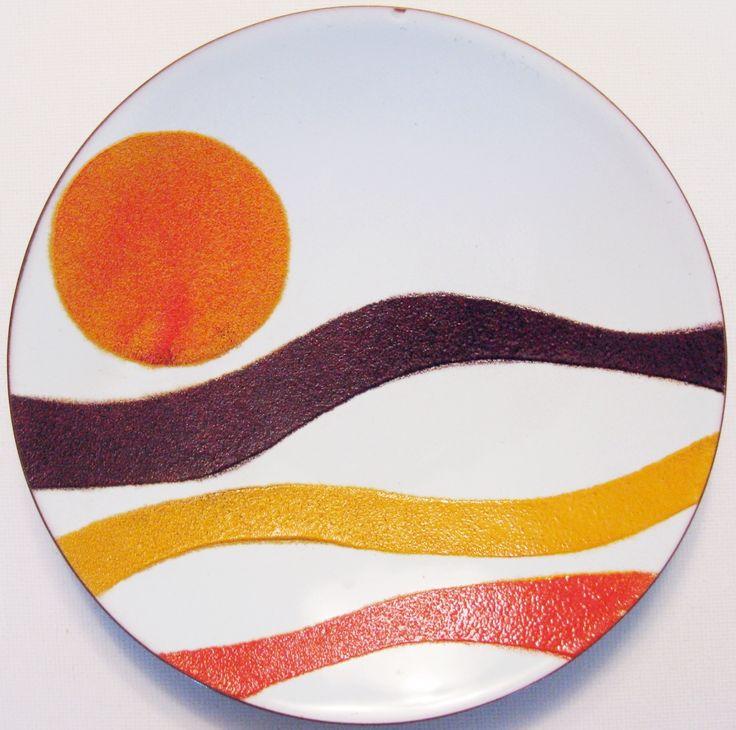 De Passille-Sylvestre modernist enamel on copper plate.