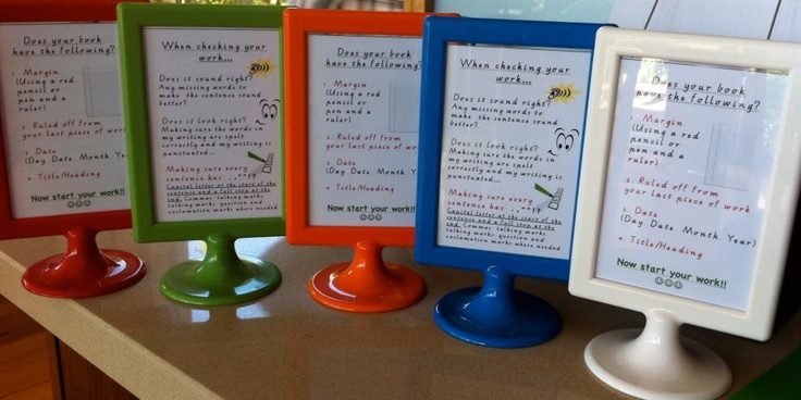 """Presentation of writing book on one side, how to edit your work on the other! These are great stands from Ikea, very cheap too! 6"""" by 4"""""""