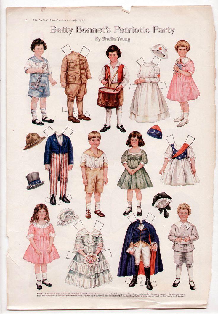 Vintage Betty Bonnet's Patriotic Party Paper Dolls 1917 Uncut 4th of July   eBay