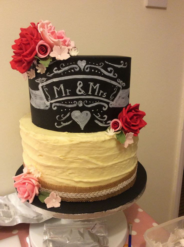 Chalk board and rose cake