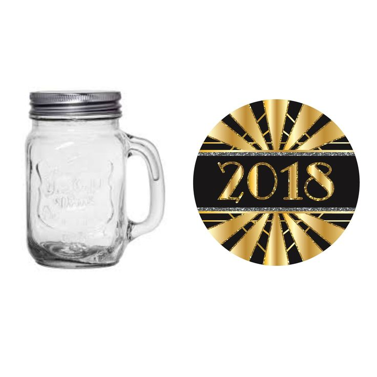 New Year's Art Deco 16-oz. Mason Jar