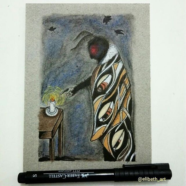 """""""Mothman"""", ink and pastel on paper by Elisabeth Turci. Its appearance is dark and scary, but its soul is as delicate as a moth. He lives in the night, always looking for something similar to sunlight. _ Etsy.com/shop/elisabethturci    #mabsdrawlloweenclub #mothman #moth #candle #pagan #light #art #illustration #elisabethturci #ink #pastels #eyes #creature #night #magick"""