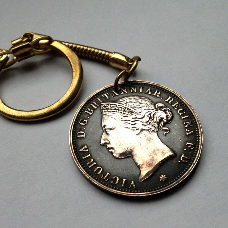 1894 UK States of Jersey 1/12th of a Shilling coin keychain ring key keyring Queen Victoria British Bailiwick Channel Islands No.K000048 by acnyCOINJEWELRY on Etsy