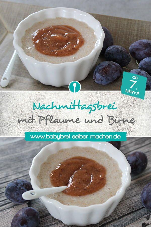 Rezept für Nachmittagsbrei mit Schmelzflocken, Birne und Pflaume. Der Babybrei …