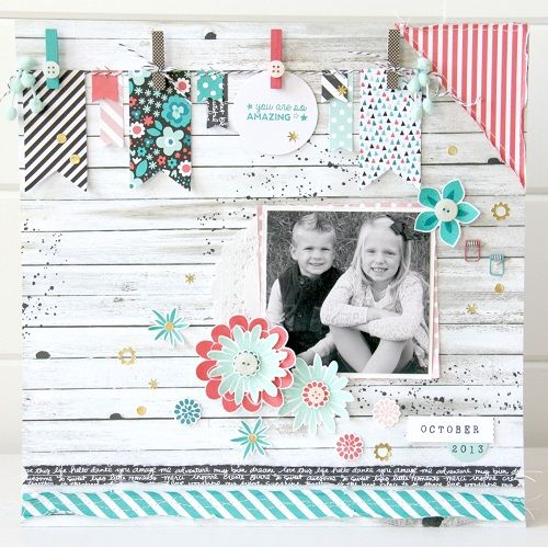 Great ideas for using clothespins on scrapbook pages without the bulk.  Also a super cute layout.