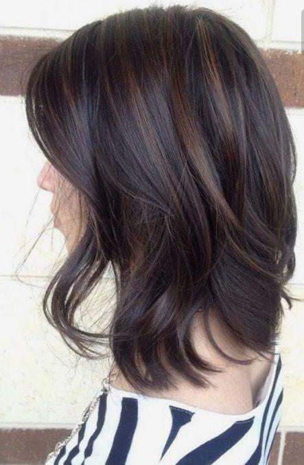 Dark brunette with low light streaks