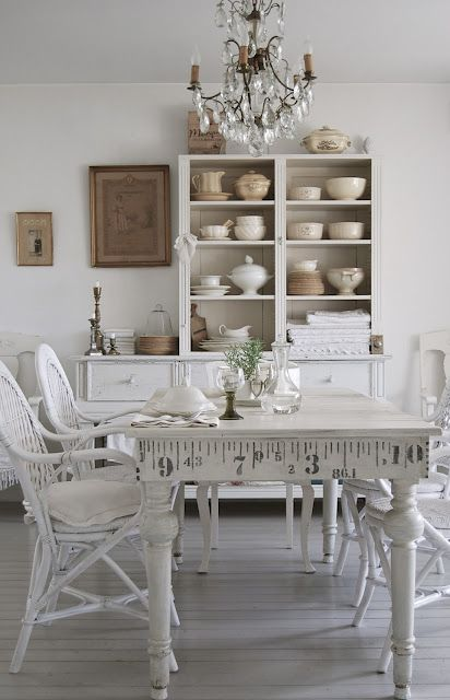 Simple white cottage farmhouse dining room love the white for Stenciled dining room table