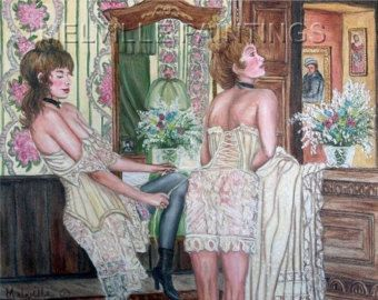 Print from Melville Original oil Painting 8x10 Print    Print $ 12.00 each    Shipping $5.00    The Girls of Hume Street    Primping Thinking of her Sweetheart    A look at the rooms and garments .One of the Historical Brothels located in Aberdeen on the Washington State coast.        All prints Are Archival High quality heavy photo paper  limited edition prints Signed and number with a white border around for matting and a frame.      Watermark will not be on your print    Please respect…
