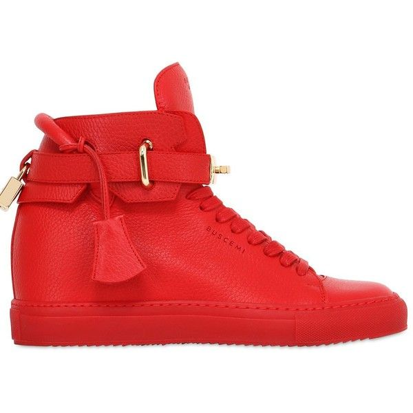 Buscemi Women 100mm Alta Leather Wedge Sneakers ($1,190) ❤ liked on Polyvore featuring shoes, sneakers, red, wedge trainers, red wedge shoes, leather wedge shoes, buscemi shoes and wedged sneakers